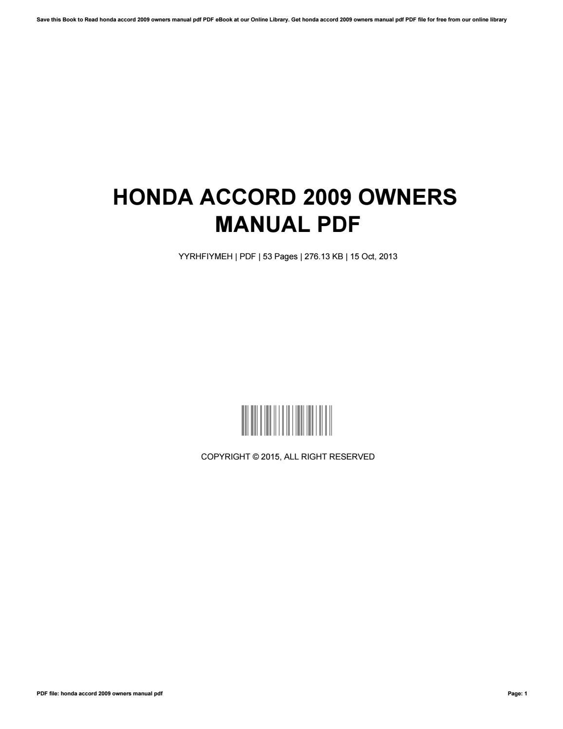honda accord owners manual pdf