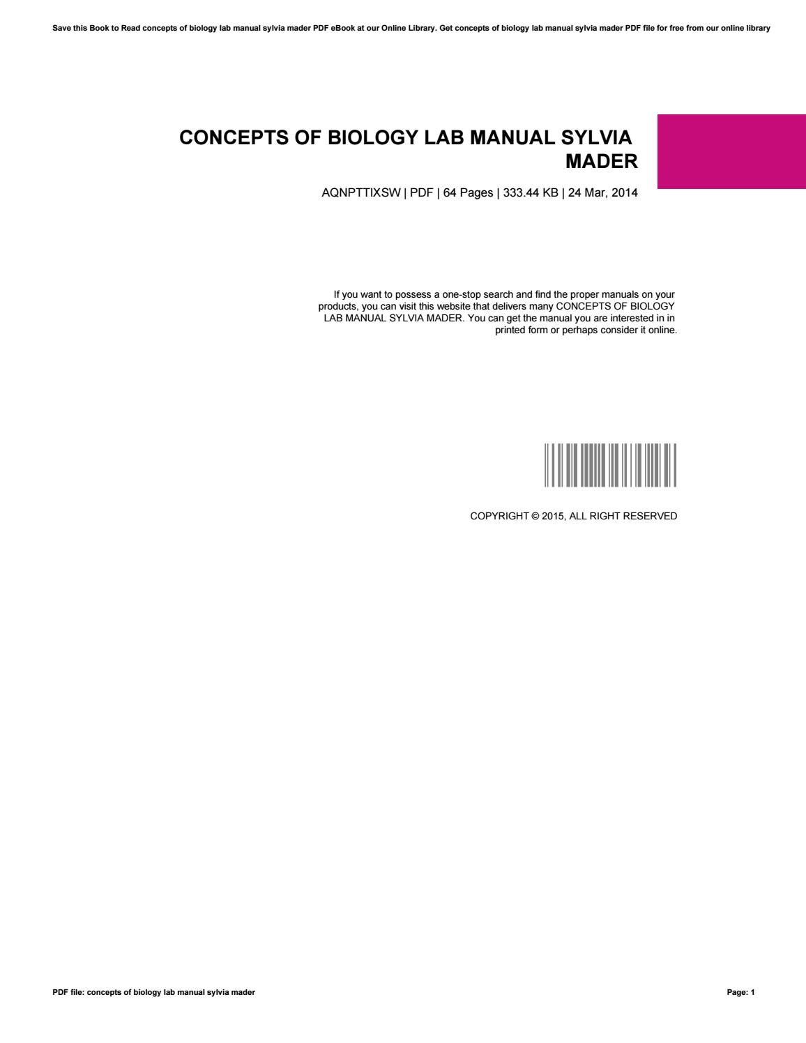 Concepts of biology lab manual sylvia mader by AlbertaMcCormick3077 - issuu