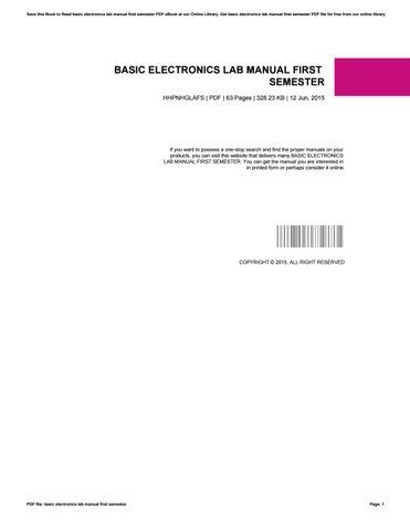 Basic electronics lab manual first semester by AlbertaMcCormick3077