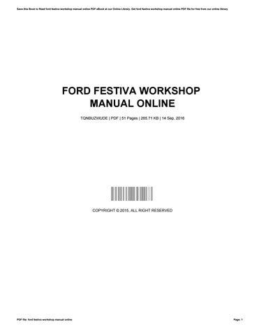 ford festiva workshop manual online by michellekeever2338 issuu rh issuu com 2015 Ford Festiva 1989 Ford Festiva