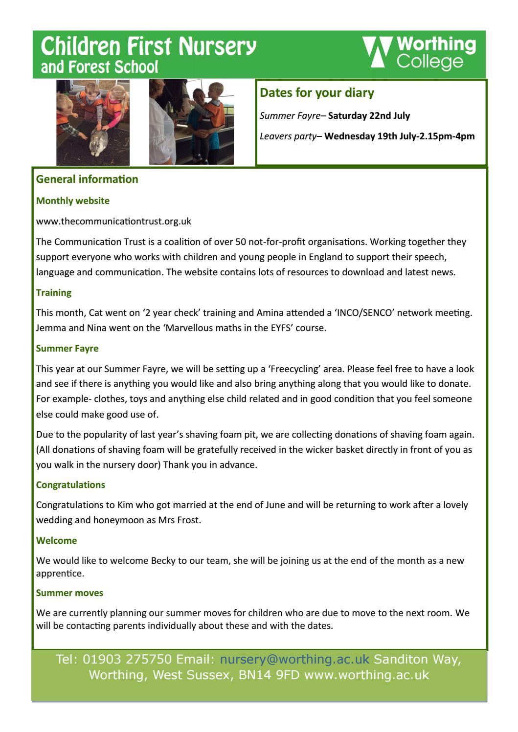 Nursery newsletter july by Worthing College - issuu