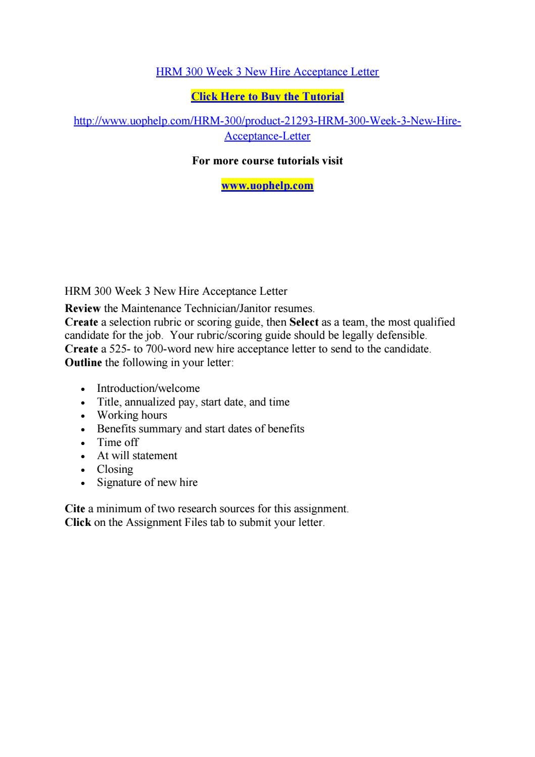 hrm 300 week 3 new hire acceptance letter by bluebell795