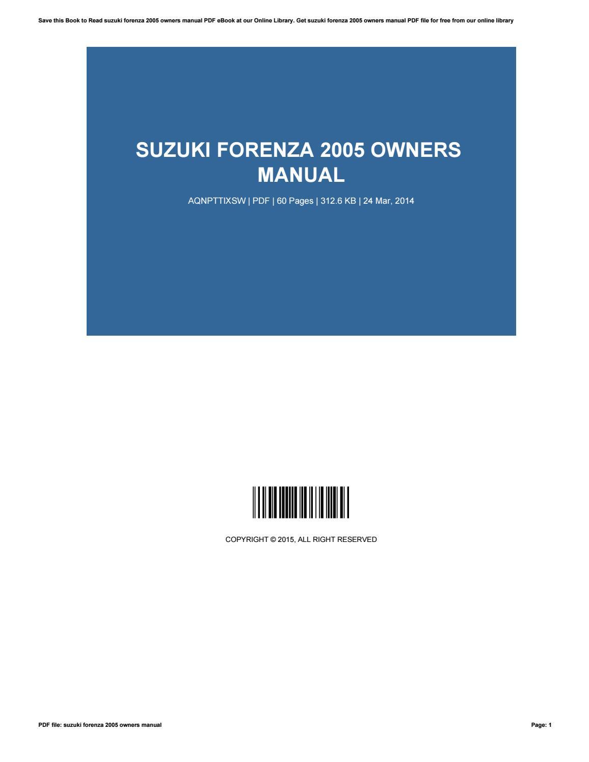 suzuki forenza 2005 owners manual by gastonhernandez1957 issuu rh issuu com 2005 suzuki forenza owners manual download 2005 Suzuki Forenza Interior