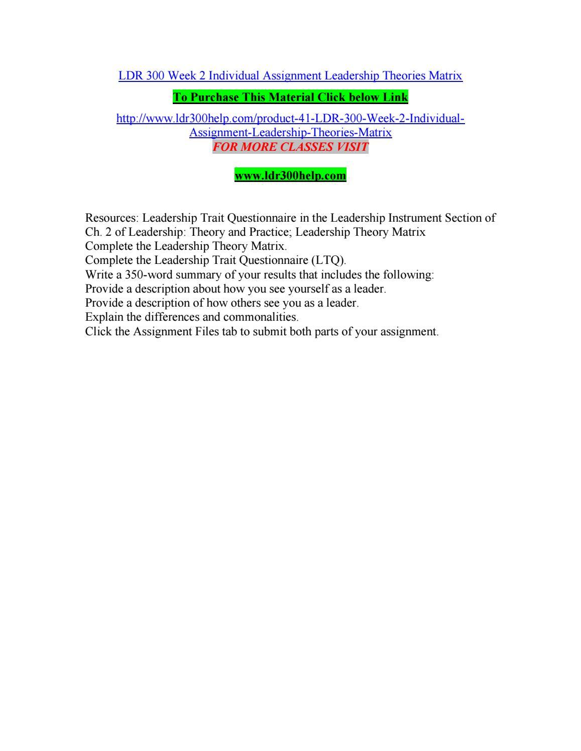 ldr 300 week 3 assignment leadership