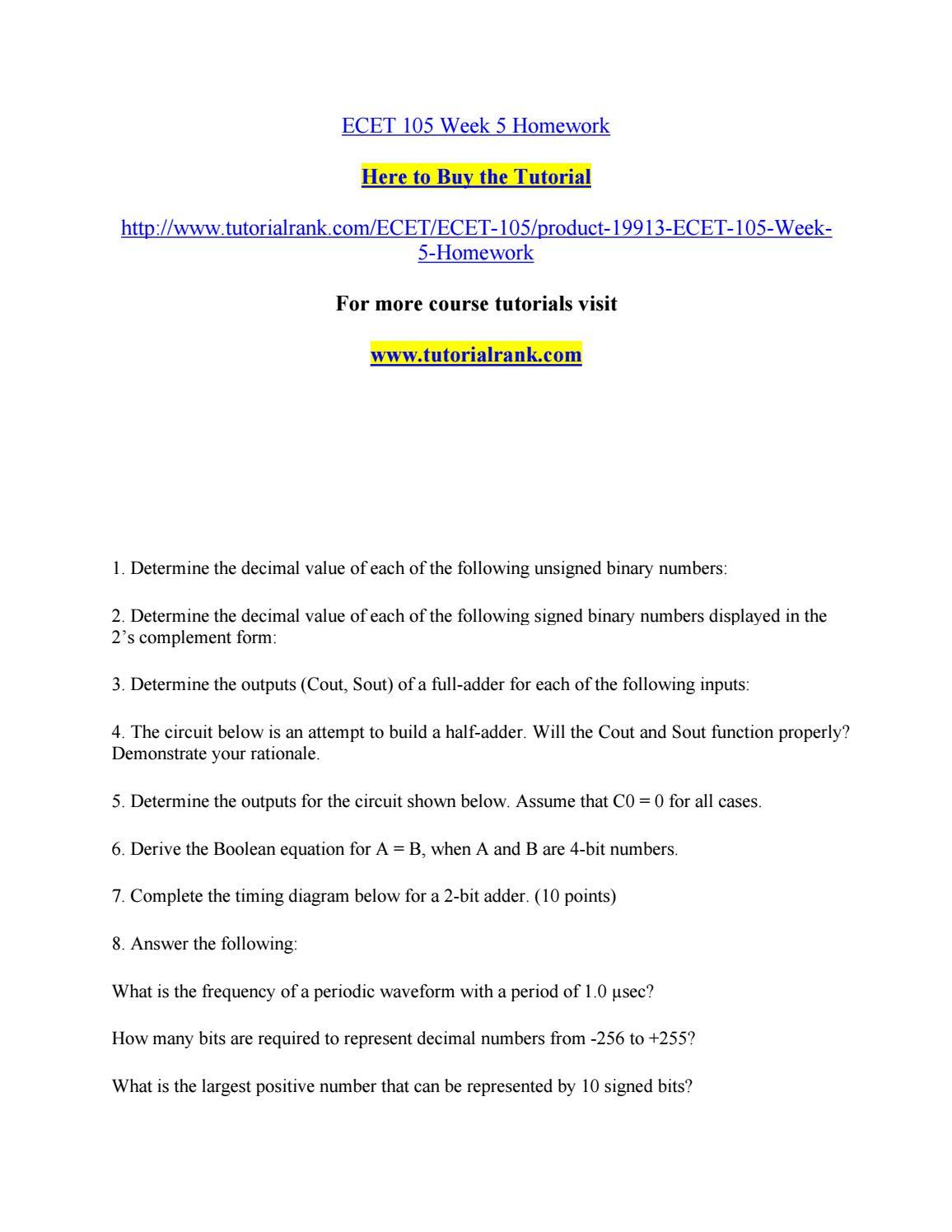 Ecet 105 Week 5 Homework By Robertsonhunt2 Issuu 1 S Complement Circuit Diagram