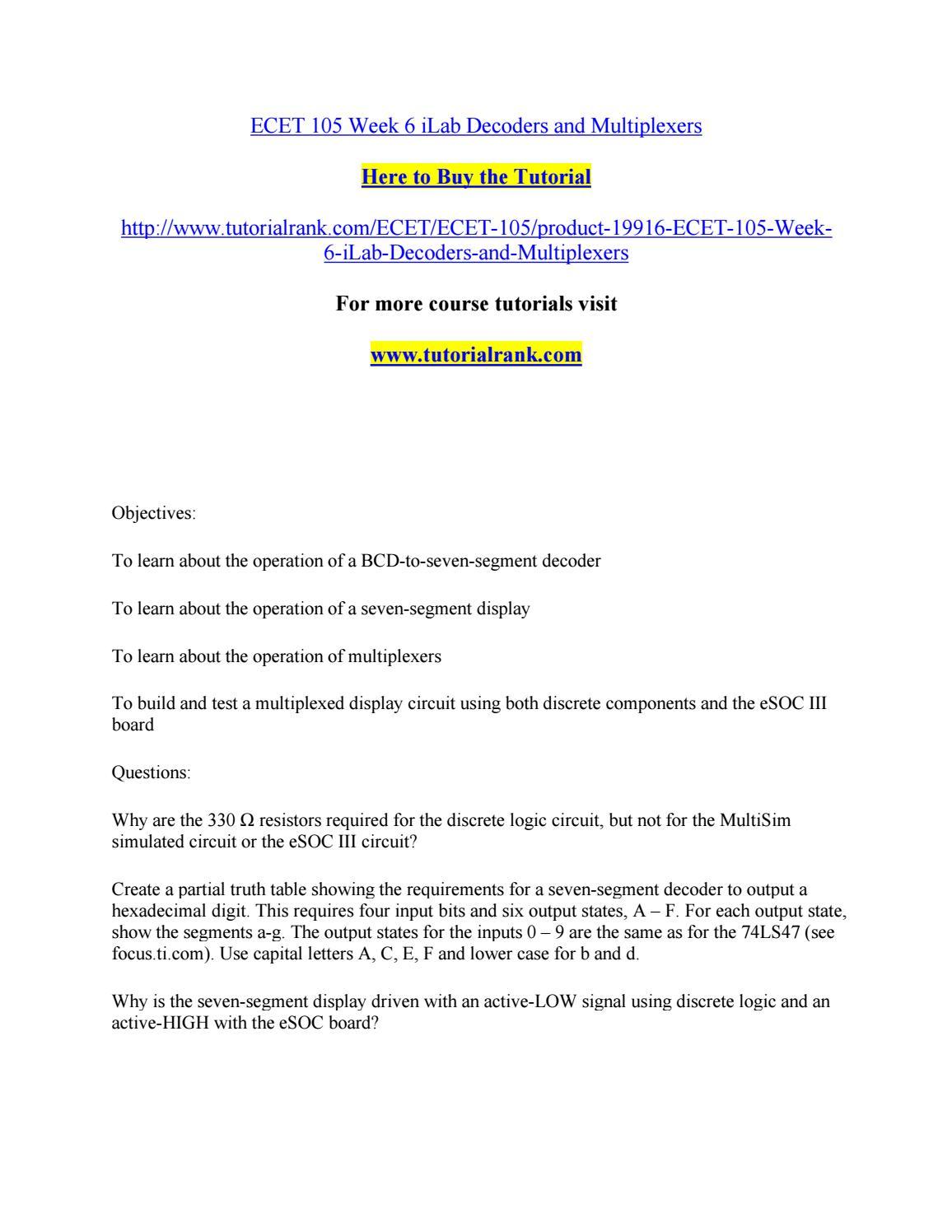 Ecet 105 Week 6 Ilab Decoders And Multiplexers By Robertsonhunt2 Issuu Multiplexer Logic Diagram Truth Table