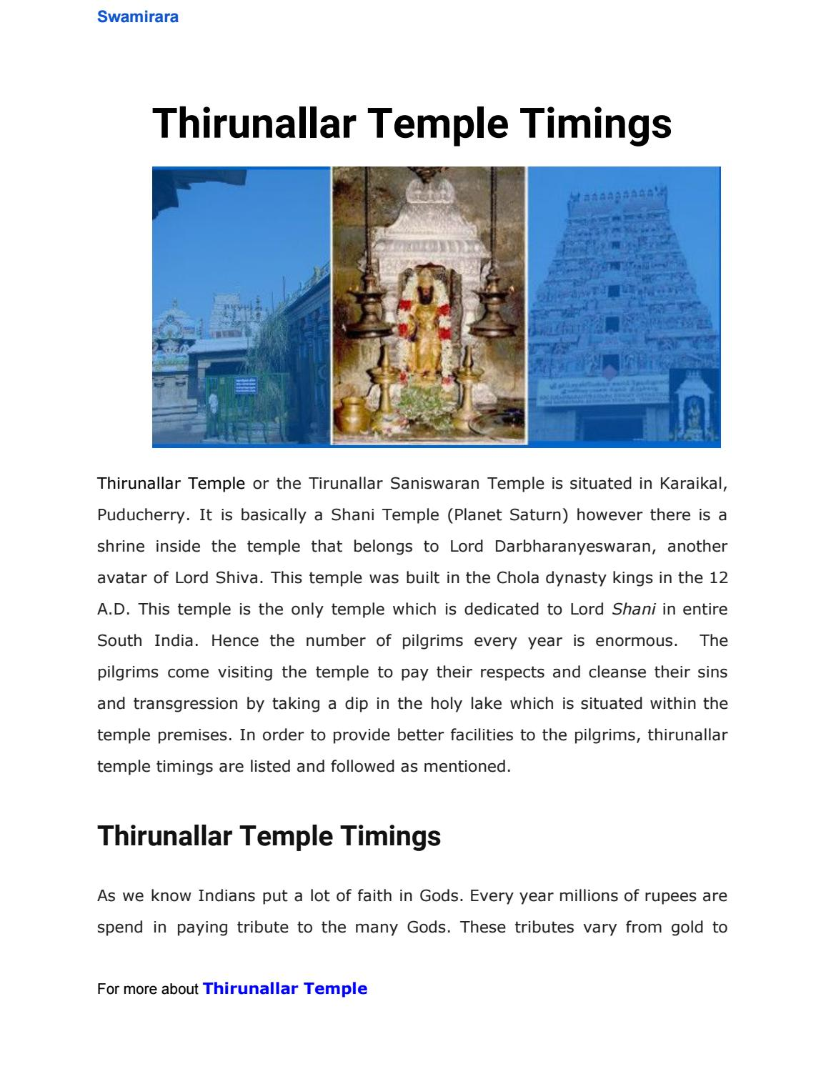 Thirunallar temple timings by sandeep kommineni - issuu