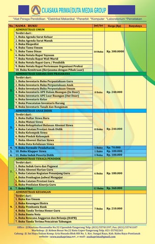 Buku Administrasi Paud Tk Kurikulum 2013 By Prima Mandiri