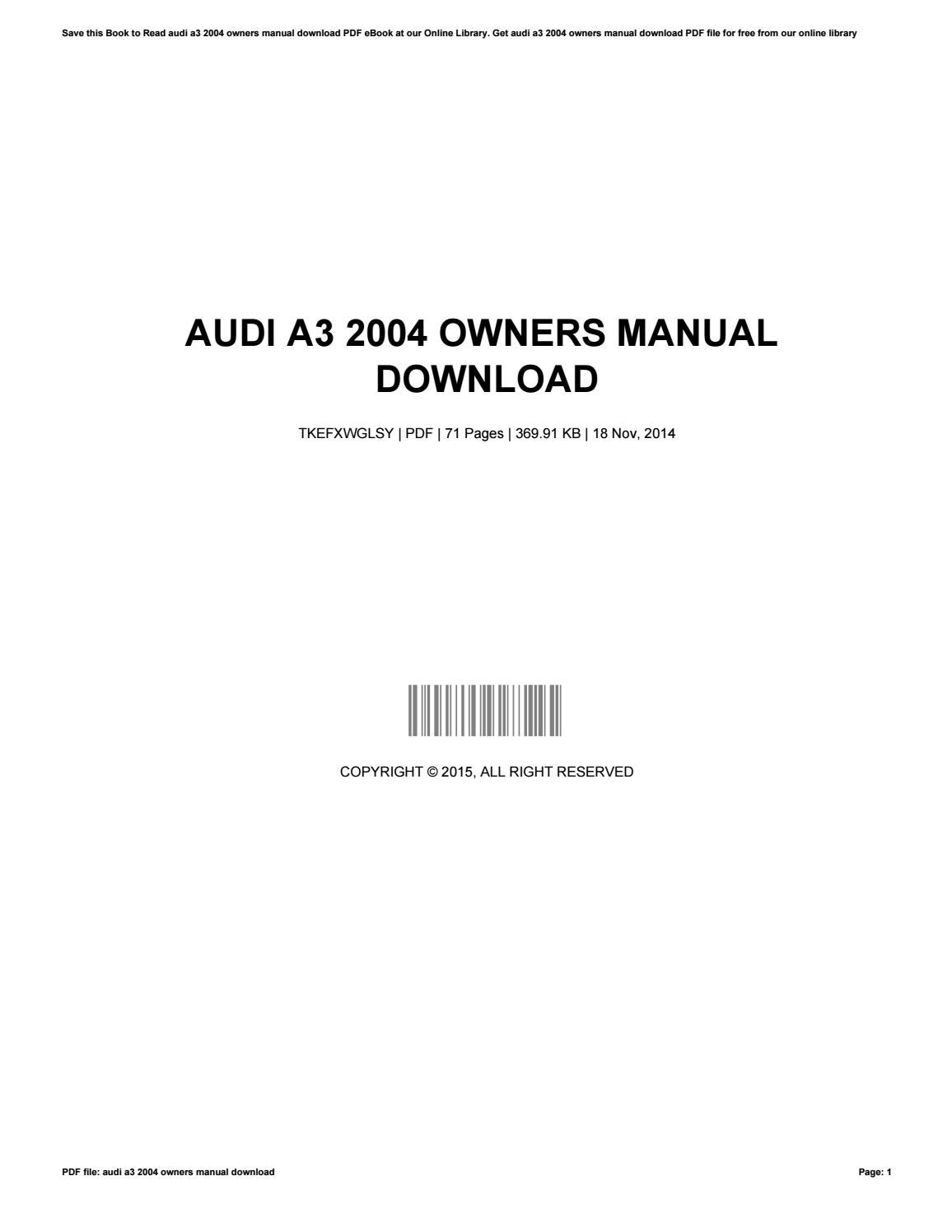 audi a3 owners manual 2015