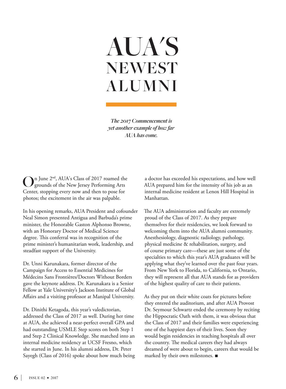 Alumni Magazine Issue 02_2017 by AUAmed - issuu