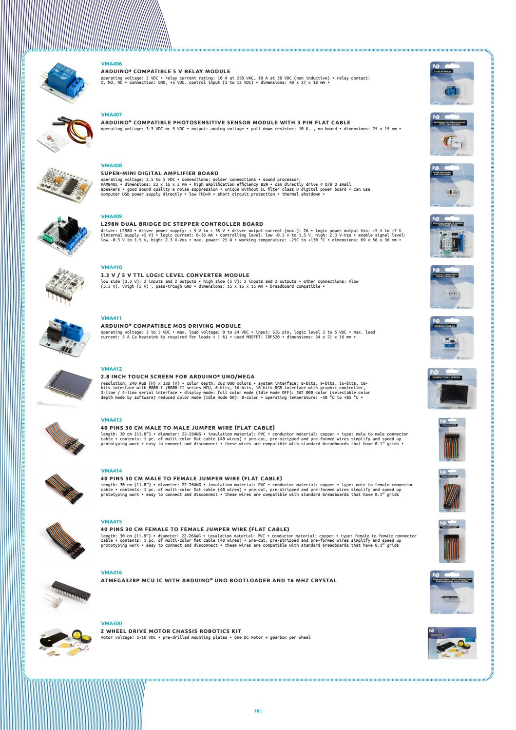 30 Multi-Colour Velleman VMA414 40 Pins Male To Female Flat Cable Jumper Wire