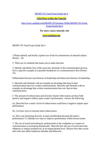 Mgmt 591 final exam guide set 4 by Lilium11 - issuu