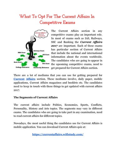 What To Opt For The Current Affairs In Competitive Exams by