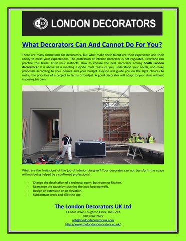 What Decorators Can And Cannot Do For You By The London Decorators