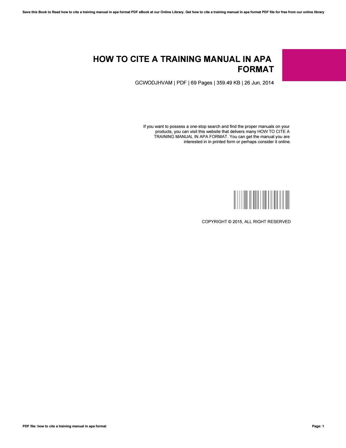 How to cite a training manual in apa format by GerardTindal12551 - issuu