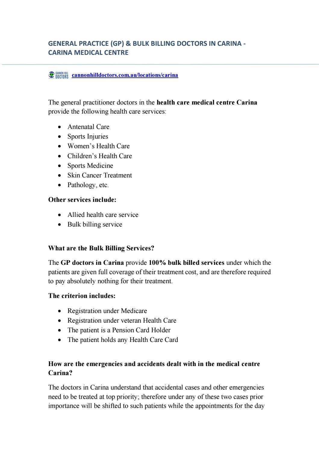 GP Doctors & Medical Centre in Carina with Bulk Billing