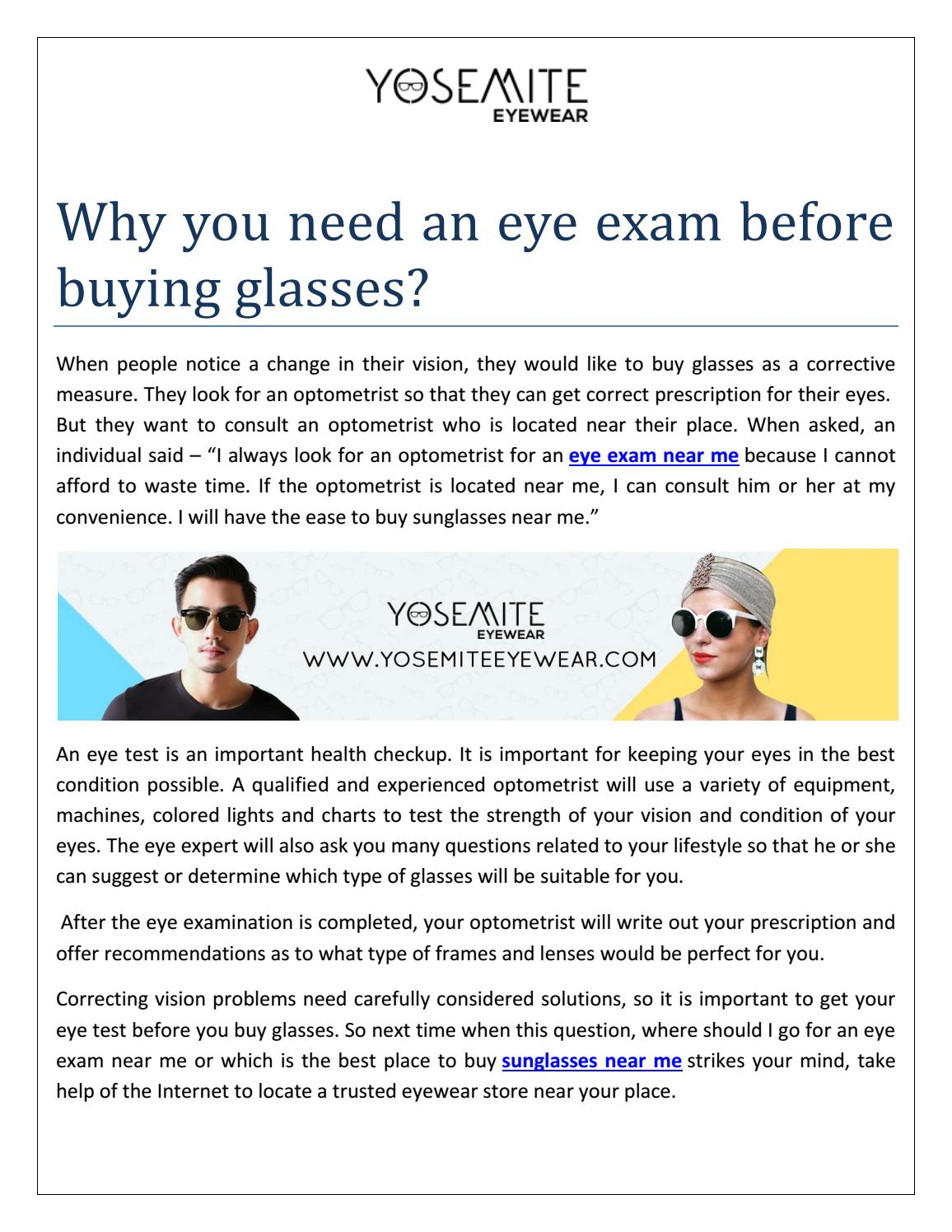 199cef0d64ca Why you need an eye exam before buying glasses by Yosemite Eyewear ...