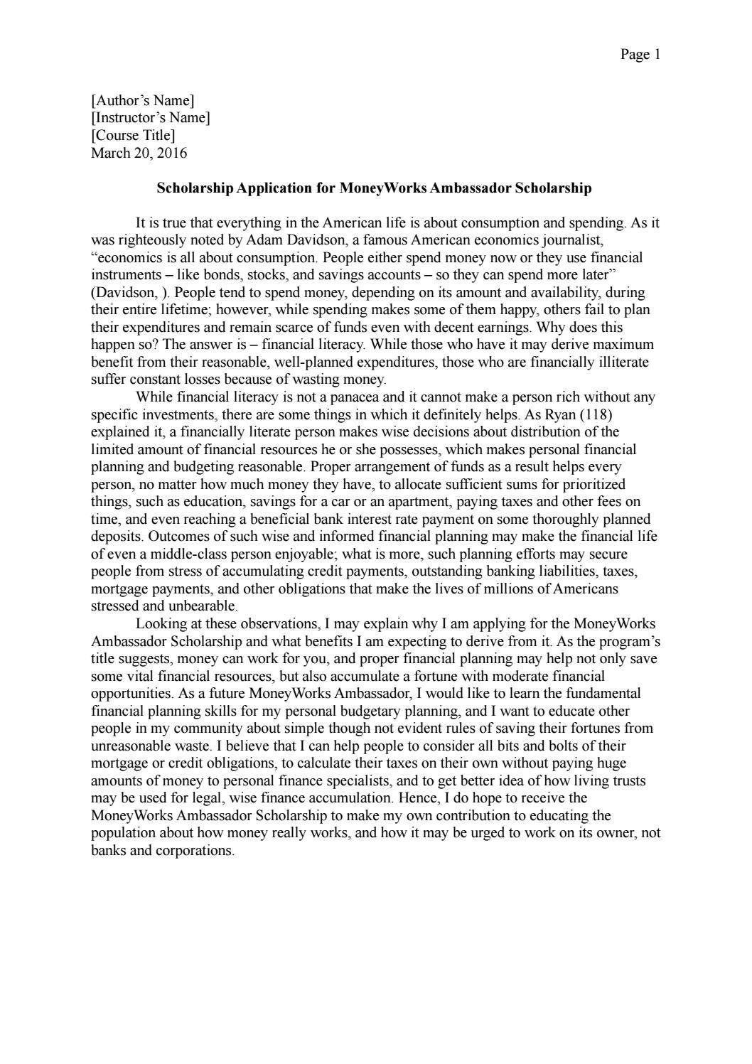 Ambassador scholarship essay