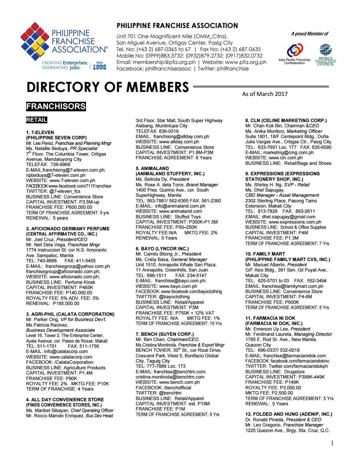 Directory Of Franchisors In The Philippines March 2017 By Dti