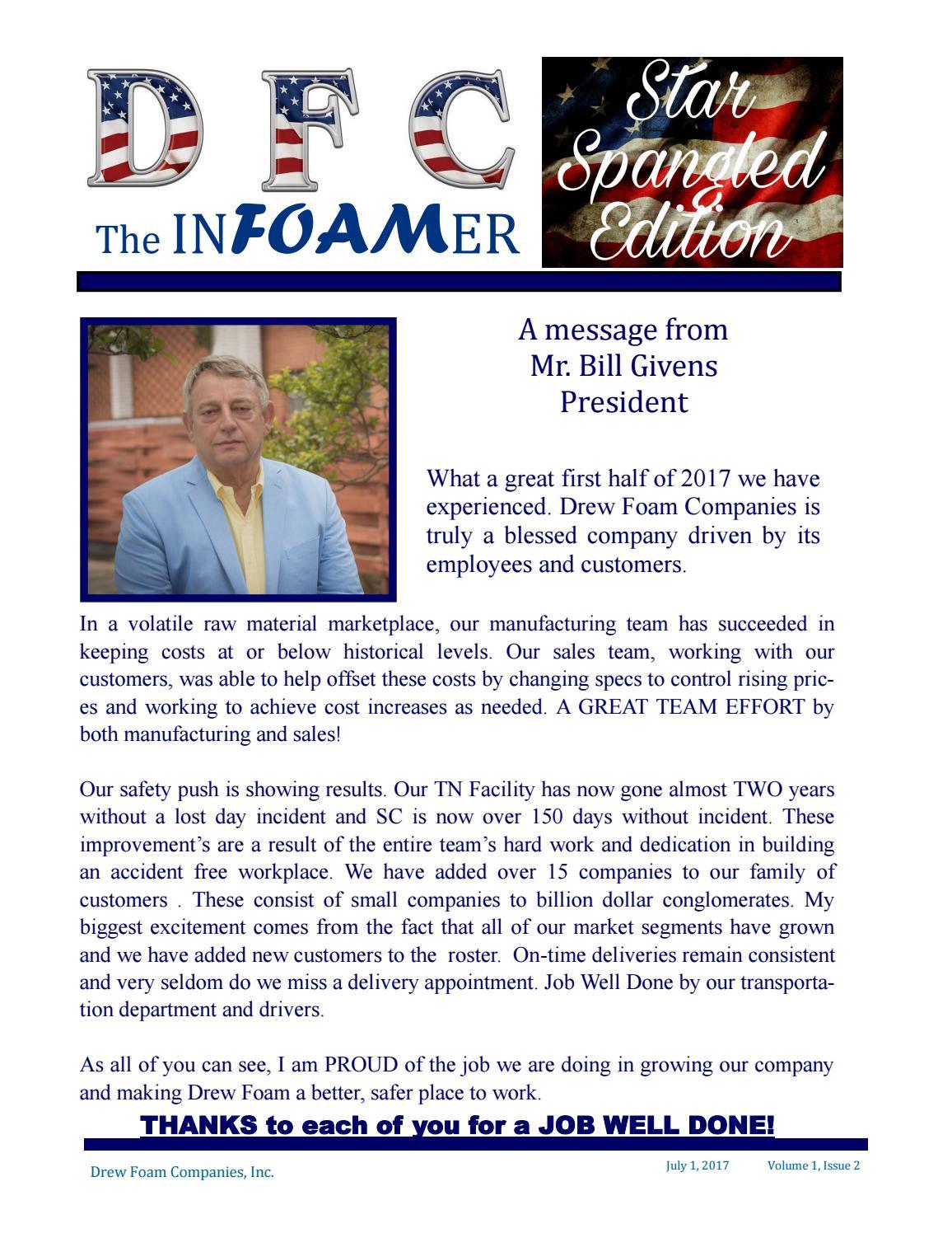 Drew Foam 2nd Quarter Newsletter 2017 by Drew Foam Companies