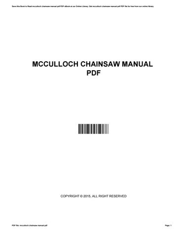 Mcculloch chainsaw manual pdf by pamelagreen3450 issuu save this book to read mcculloch chainsaw manual pdf pdf ebook at our online library get mcculloch chainsaw manual pdf pdf file for free from our online fandeluxe Images