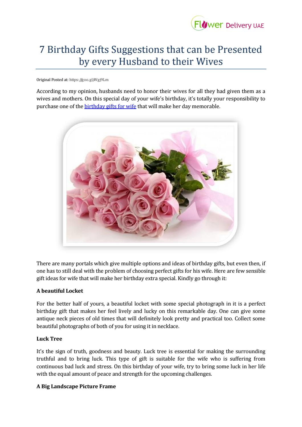 7 Birthday Gifts Suggestions That Can Be Presented By Every Husband To Their Wives Flower Delivery UAE