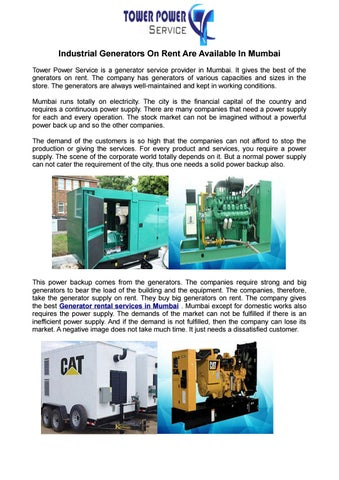 Industrial Generators On Rent Are Available In Mumbai by
