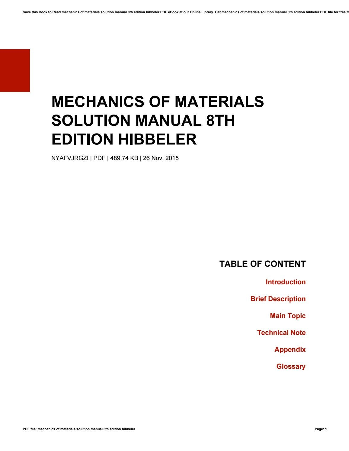 Mechanics of materials solution manual 8th edition hibbeler by  SylviaKnaack4572 - issuu