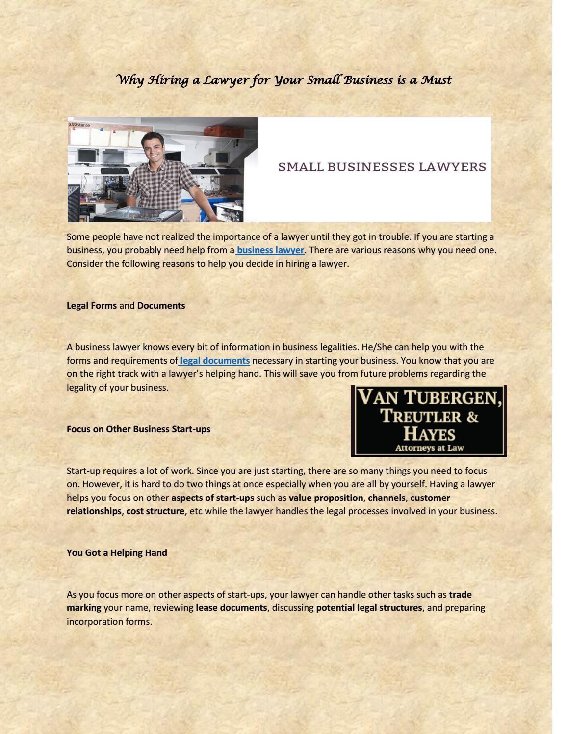Why Hiring A Lawyer For Your Small Business Is A Must By Michael Van - Legal documents for small business