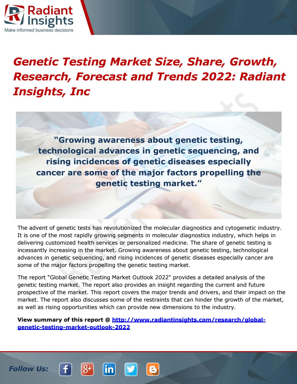 Genetic testing market growth, research, forecast and trends