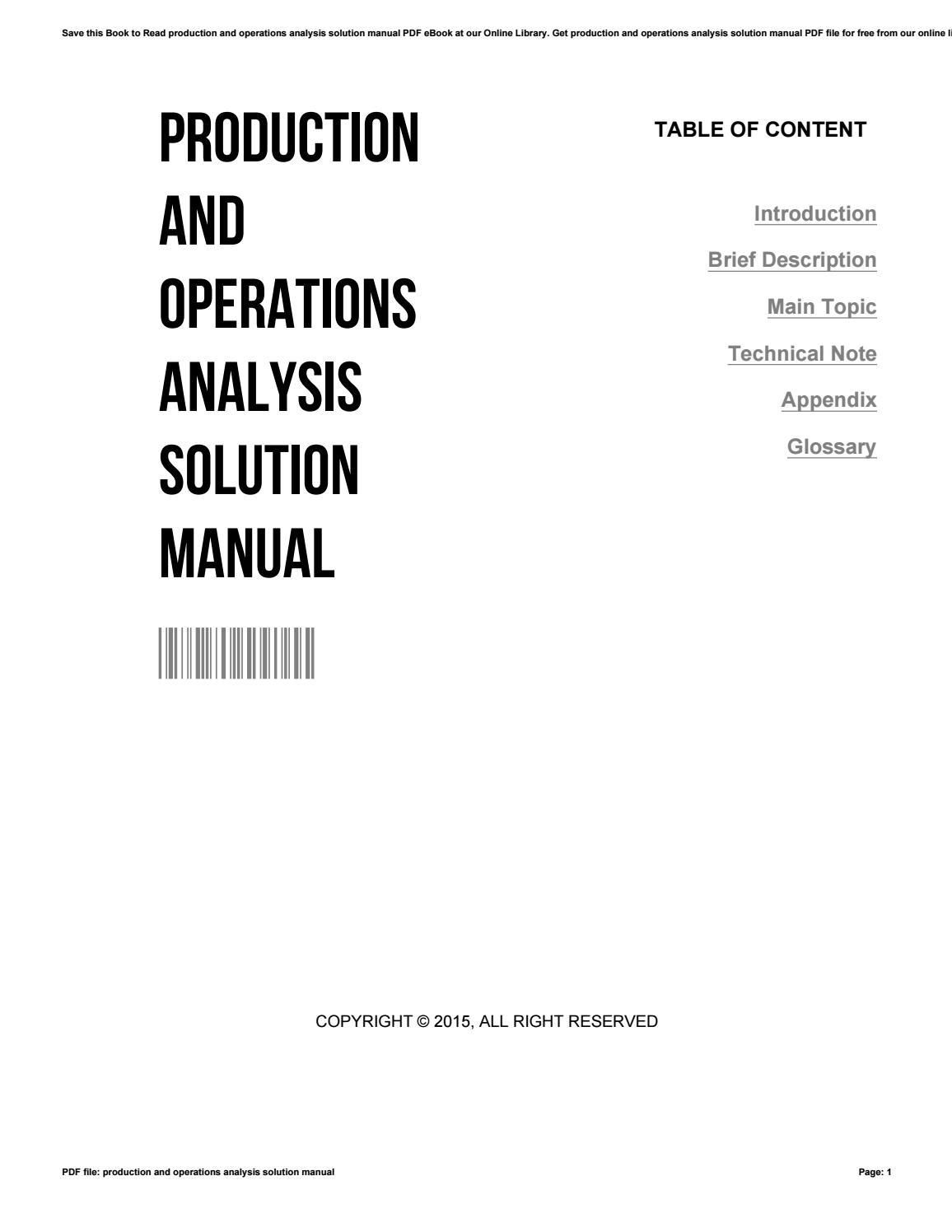 Nahmias analysis steven operations pdf and production
