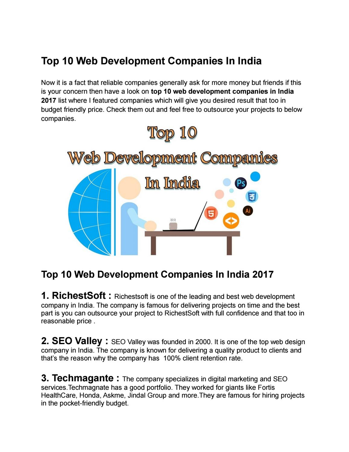 Top 10 Web Development Companies In India By Topxlisting Issuu
