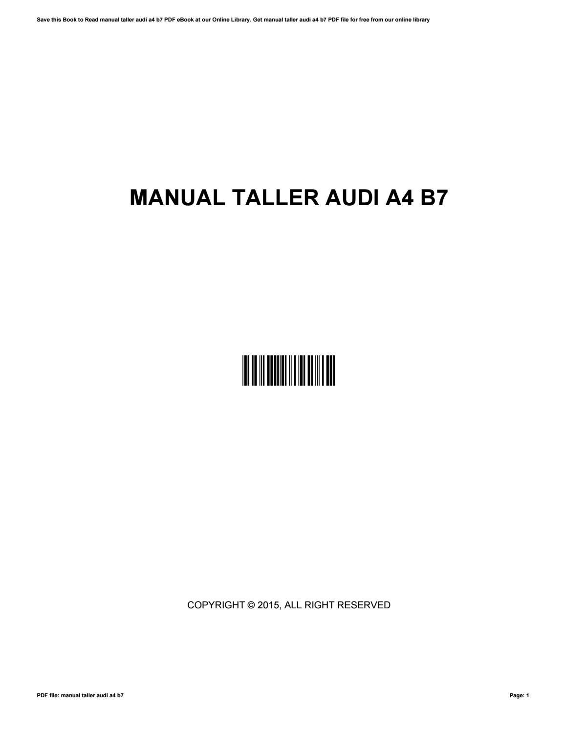 Manual taller audi a4 b7 by lucillevang1664 issuu fandeluxe Choice Image