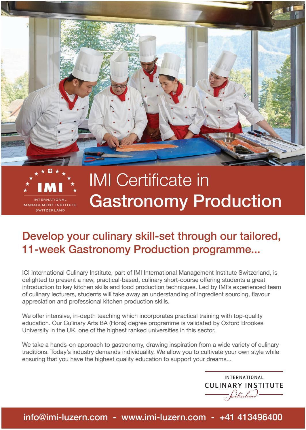 Imis Certificate In Gastronomy Production By Imi Luzern Issuu