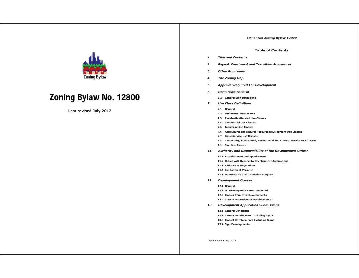 Edmonton (Alta ) - 2012 - Zoning bylaw_12800 (2012-07) by