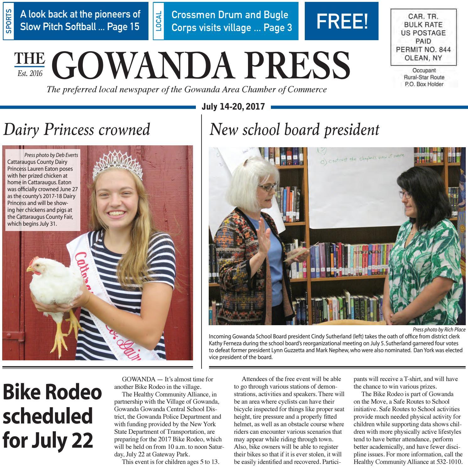 Gowanda Press July 14 2017 Edition By Bradford Publishing