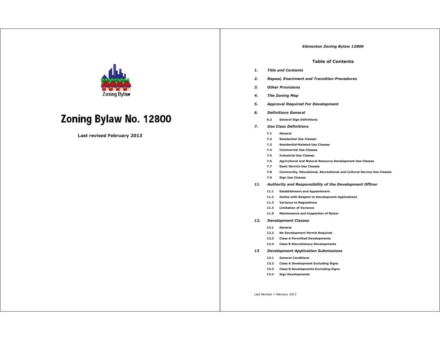 Edmonton (Alta.) - 2013 - Zoning bylaw_12800 (2013-02) by Edmonton ...