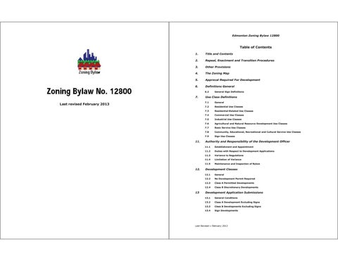 Edmonton (Alta ) - 2013 - Zoning bylaw_12800 (2013-02) by