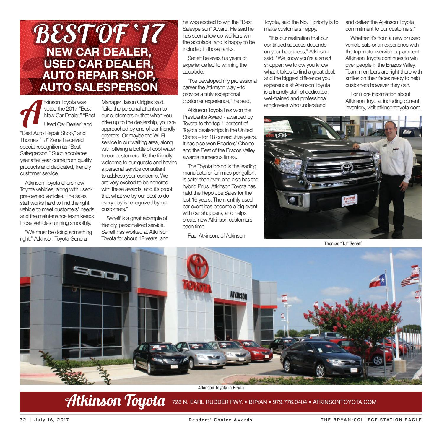 Atkinson Toyota Bryan >> 2017 Readers Choice By The Eagle Advertising Department Issuu