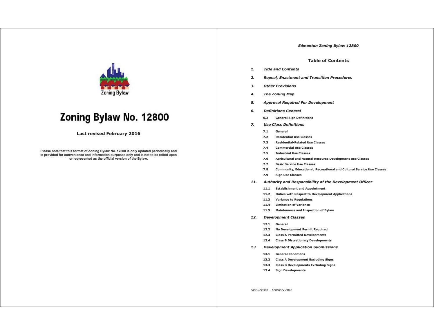 Edmonton (Alta ) - 2016 - Zoning bylaw_12800 (2016-02) by Edmonton