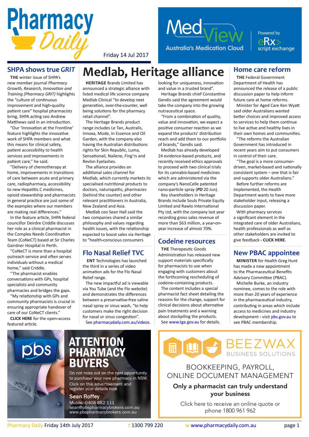 PD for Fri 14 Jul 2017 - Medlab, Heritage alliance, DAA