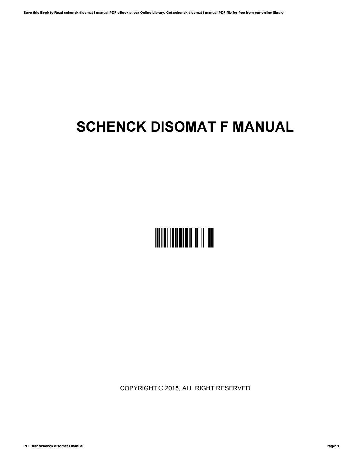 schenck disomat f manual browse manual guides u2022 rh megaentertainment us Owner's Manual User Manual Template