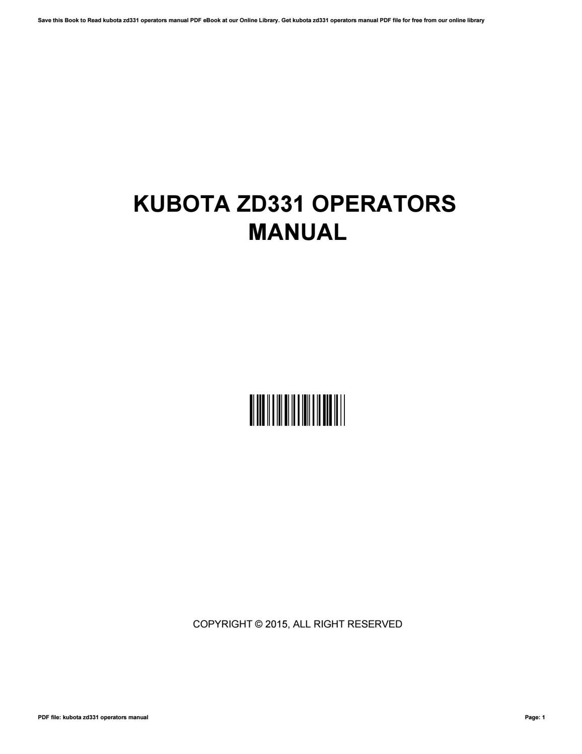 Kubota Zd331 Wiring Diagrams | Wiring Liry on