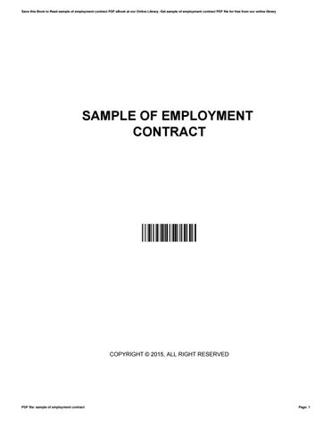 Sample of employment contract by EugeneRidenour2913 - issuu