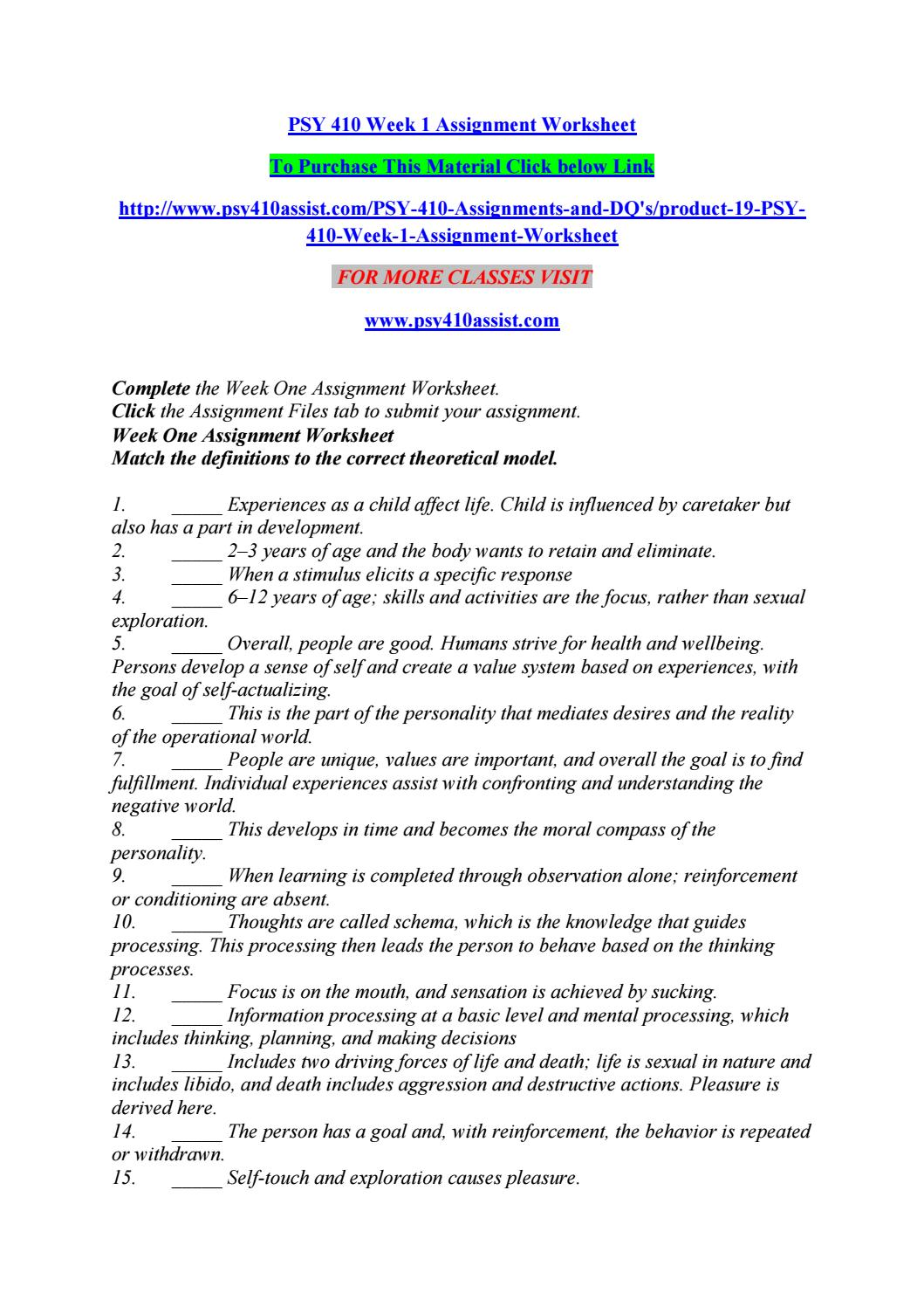 psy 410 week 3 individual assignment Psy 410 week 1 assignment worksheet psy 410 week 5 individual programmatic assessment for more course tutorials visit.