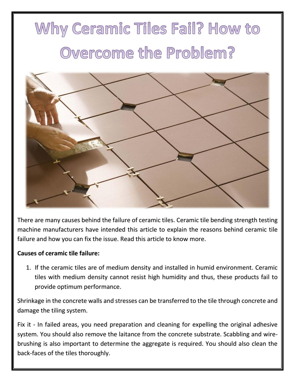 Why Ceramic Tiles Fail How To Overcome The Problem By Eie