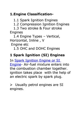 Engine Classification11 Spark Ignition Engines 12 Compression 13 Two Stroke Four 14 Types X20ACx201C