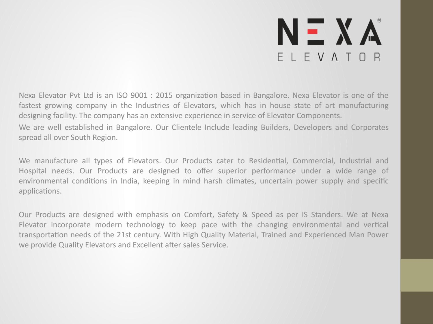 Residential Elevator Manufacturers in Bangalore by Nexaelevator - issuu