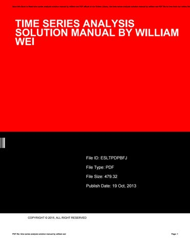 time series analysis solution manual by william wei by rh issuu com Textbook Solution Manuals Textbook Solution Manuals