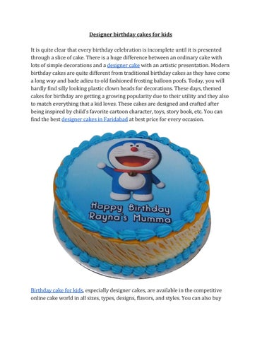 Cool Order Designer Cakes Online For Kids Birthday By Faridabadcake Issuu Personalised Birthday Cards Veneteletsinfo